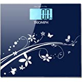Triomph Digital Bathroom Weight Scale, 330lb Capacity, Automatic Step On, LCD Backlight Display, 6mm Tempered Glass (Blue)
