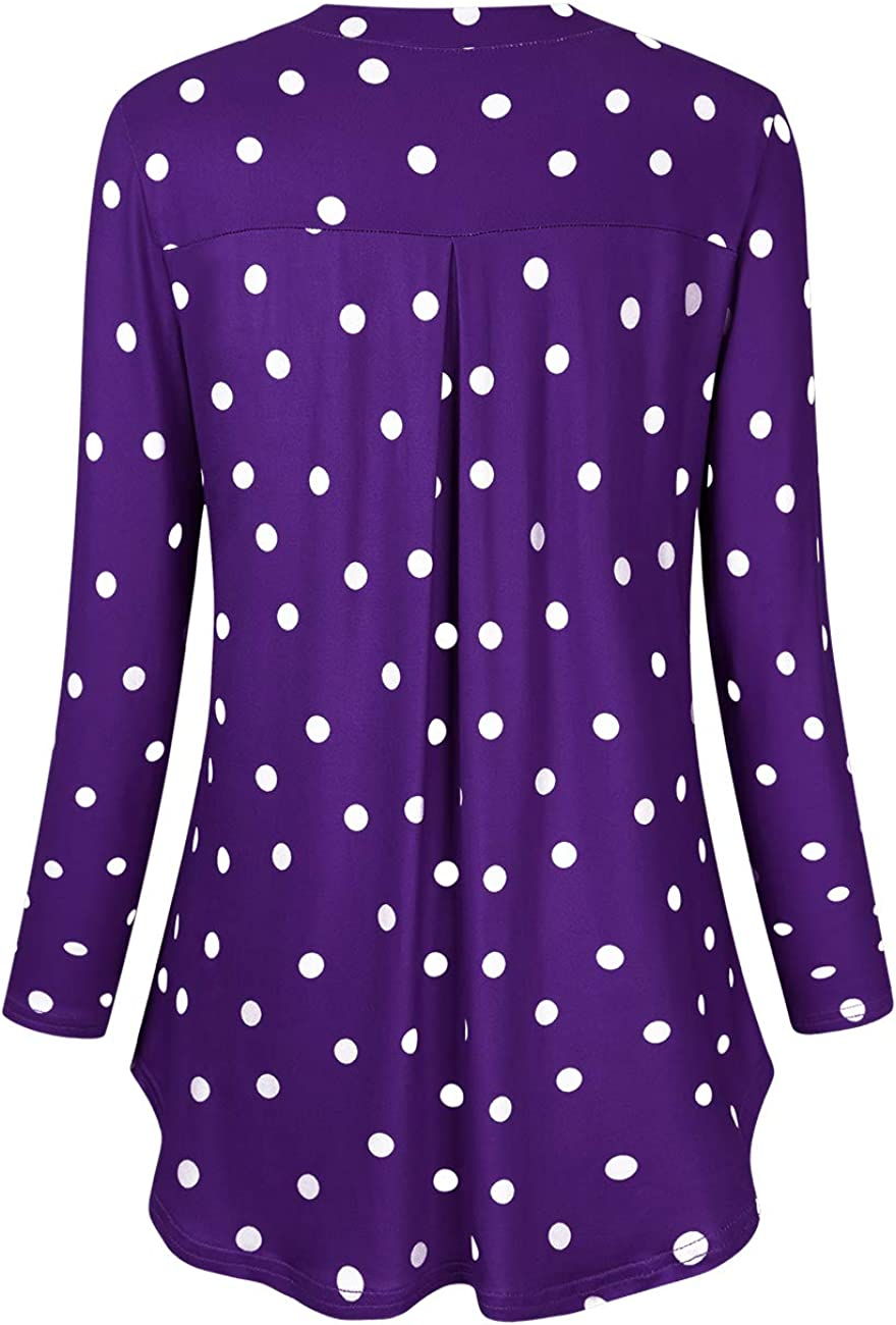 AMZ PLUS Womens Plus Size Loose Blouse Stretch Henley Tops Polka Dot V Neck Casual Tunic Shirts Eggplant with Black Points 3XL