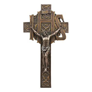 Ebros Christogram IHS Crucifix Wall Cross 12.5 Tall Jesus On The Cross At Calvary Wall Decor Christian Bronzed Resin Sculpture