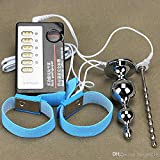 Hetam Electric Shock Urethral Plug + Penis Ring + Anal Plug Pulse Physical Therapy Urethral Wall Medical Themed Anal Sex Toy for Male Gay I9-1-7