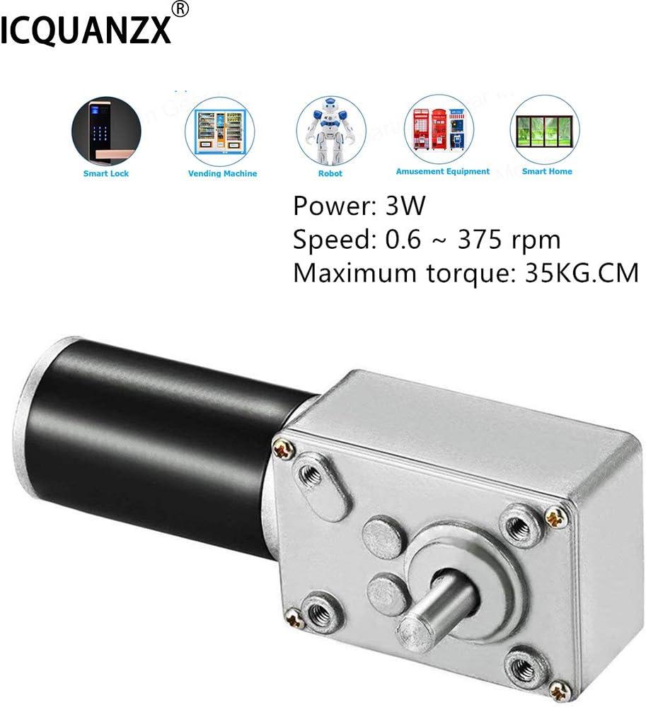 ICQUANZX Motor de engranaje de gusano de CC 12 V 16r Turbina de alto torque Motor de caja de engranajes eléctrico Mini motor invertido autoblocante Motorreductor para máquina derobot DIY (12V)