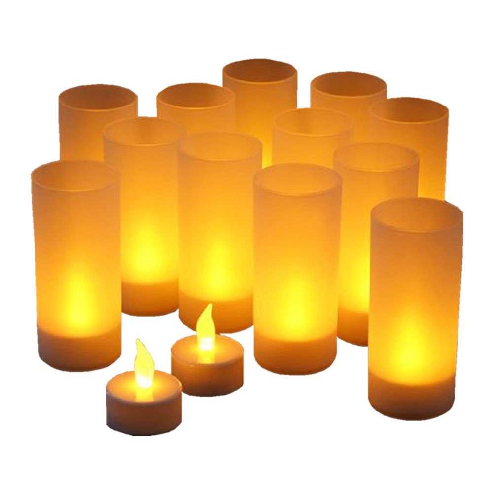 Flameless Candles, Joso Set of 12 Flickering Amber LEDs Rechargeable Tea Lights Candles with Diffused Votives, Wax-less & Flameless, Ideal for Weddings Parts Homes Restaurants