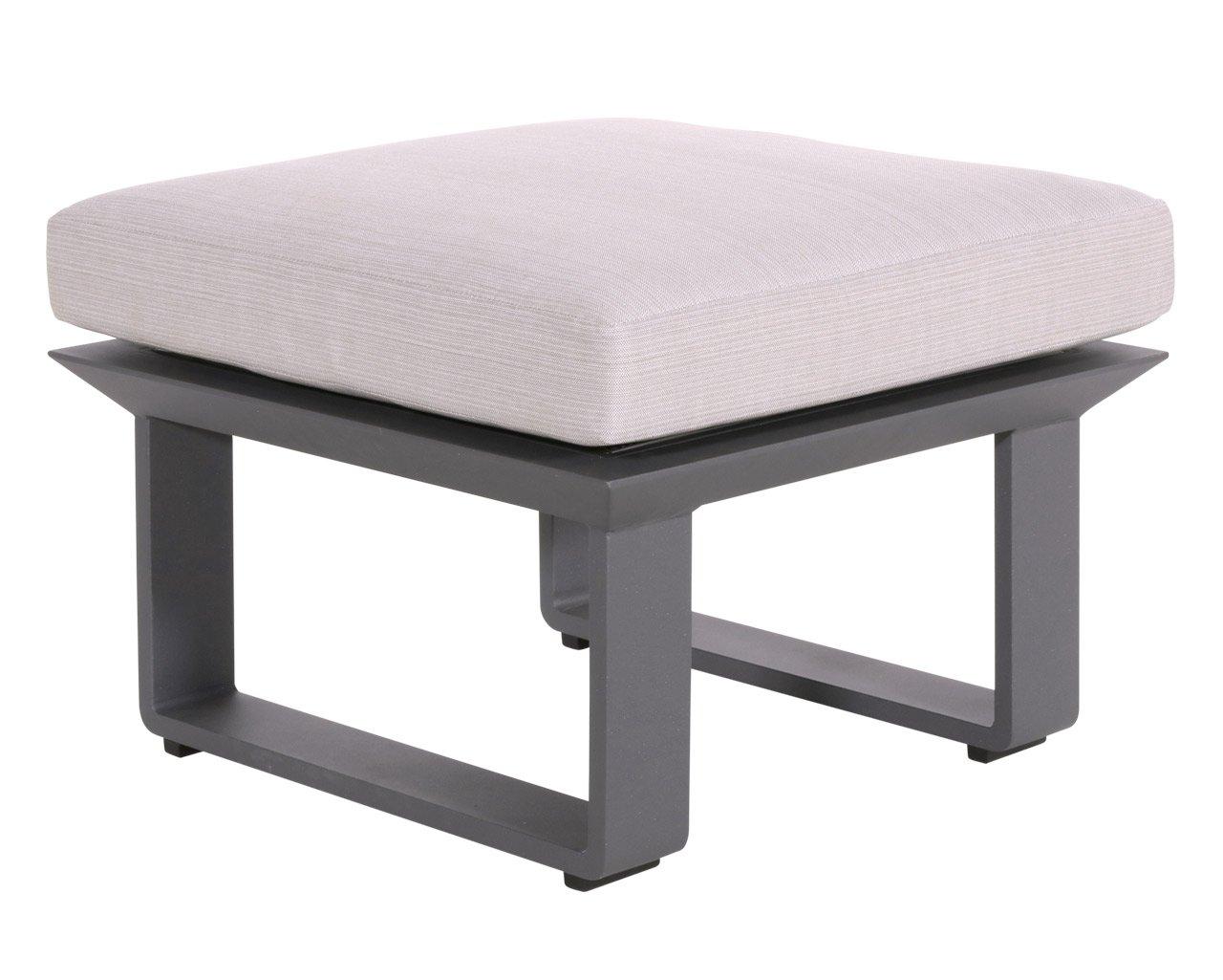 lifestyle4living Hocker aus Aluminium in anthrazit mit Sitzkissen für Terrasse oder Garten. Variabel einsetzbar als Fußbank, Beistellhocker durch Auflagekissen.