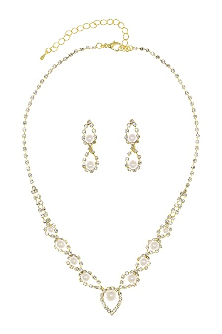 4be983744ac1 Amazon.com  Eye of Peacock Design Crystal Bridal Necklace Earrings Set -  Gold Plated Faux Pearls N262  Jewelry Sets  Jewelry
