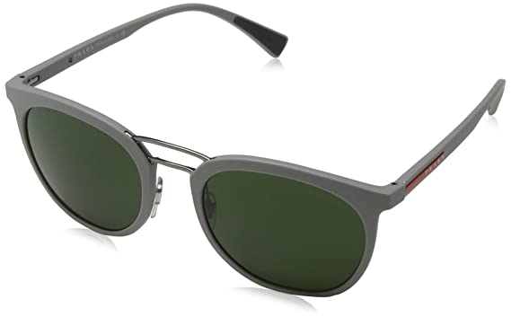 7aa3768092e9 Amazon.com  Prada Sport 04SS VHH1I0 Grey Rubber Round Sunglasses  Clothing