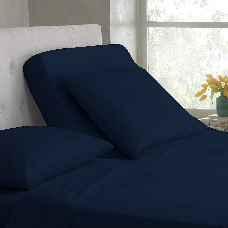 "Elegant Bedding LuckySleepCotton Top-Split-California-King: Adjustable Cal King Bed Sheets 4PC Solid Navy 100% Cotton 1200-Thread-Count, 18"" Deep Pocket"