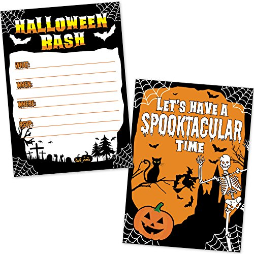 Halloween Birthday Bash Invitations (Halloween Bash Party Invitations (20 Count with Envelopes) - Skeleton, Witch, Black Cat, Bats, and Spooky Graveyard Design - Invites for Kids and)