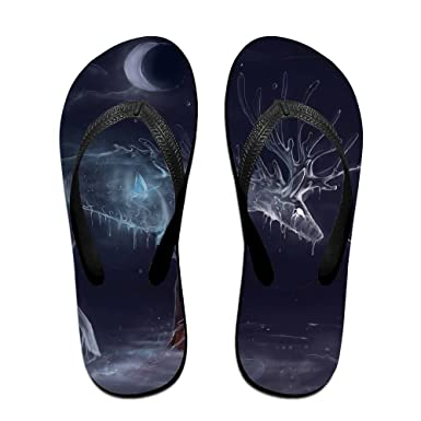Couple Flip Flops Many Deers Print Chic Sandals Slipper Rubber Non-Slip House Thong Slippers