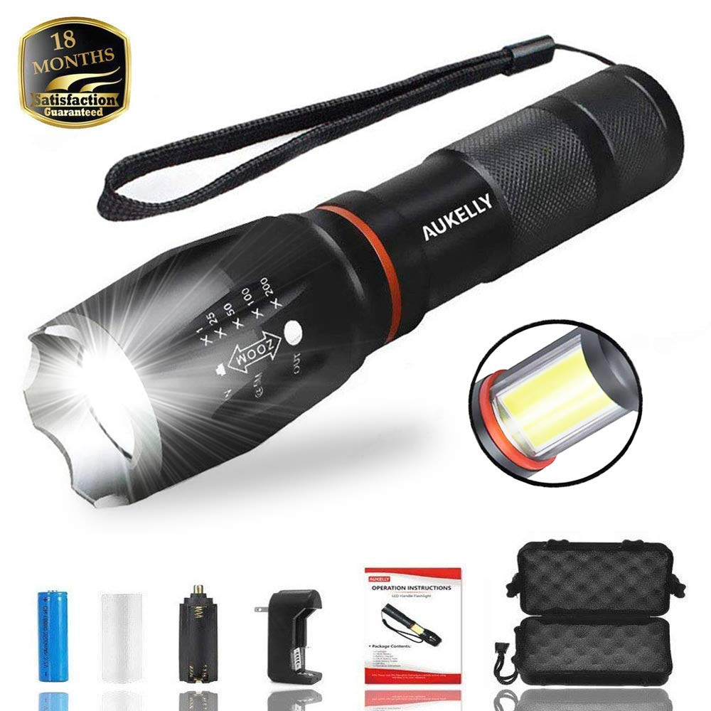 Tactical LED Flashlight with COB Light,High Lumens LED Tactical Flashlight,Waterproof LED Work Light,Handheld,Zoomable,Magnetic Bright Flashlight,6 Modes,Ideal for Camping,Emergency,with 18650 Battery