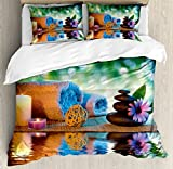 Spa Duvet Cover Set King Size by Lunarable, Asian Culture Inspiration Chinese Japanese Candles Zen Meditation Stones, Decorative 3 Piece Bedding Set with 2 Pillow Shams, Green Orange Lavander