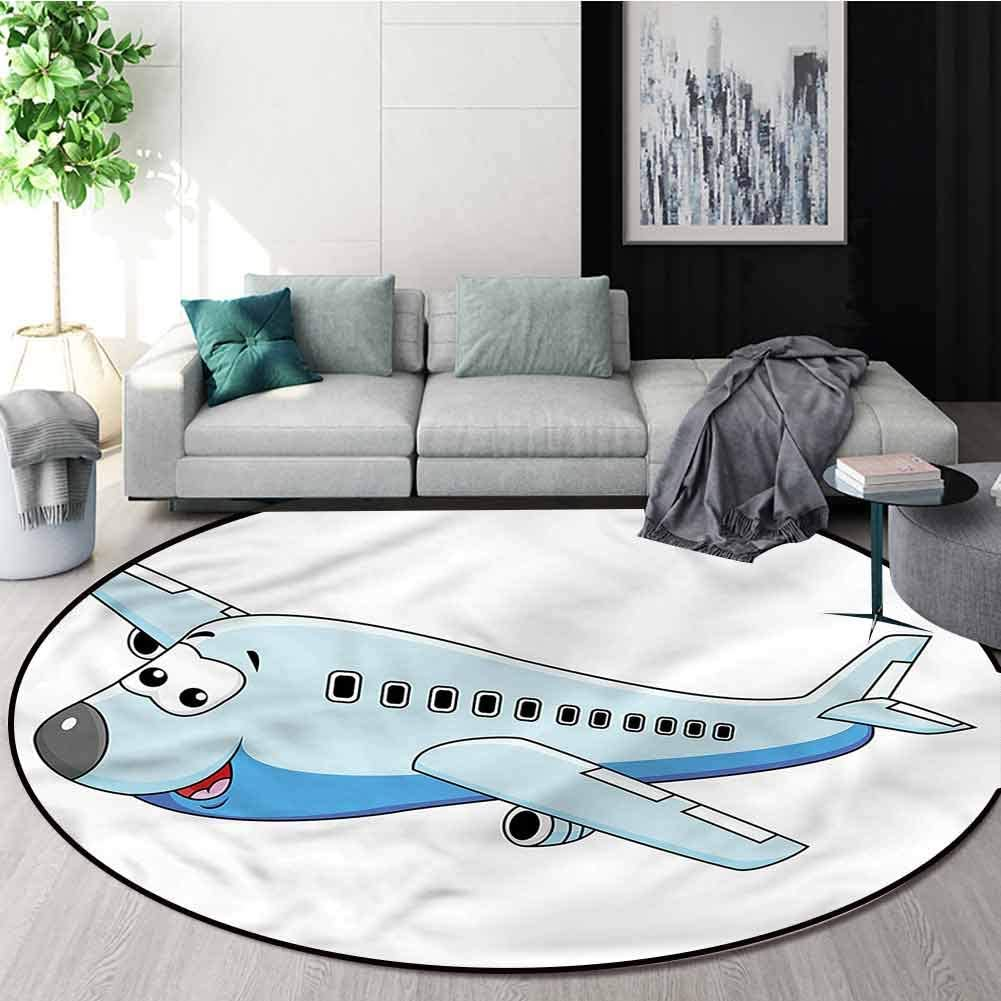 RUGSMAT Boys Room Modern Flannel Microfiber Non-Slip Machine Round Area Rug,Commercial Airplane Carpet Door Pad for Bedroom/Living Room/Balcony/Kitchen Mat Diameter-51 61pLwkm6BPL