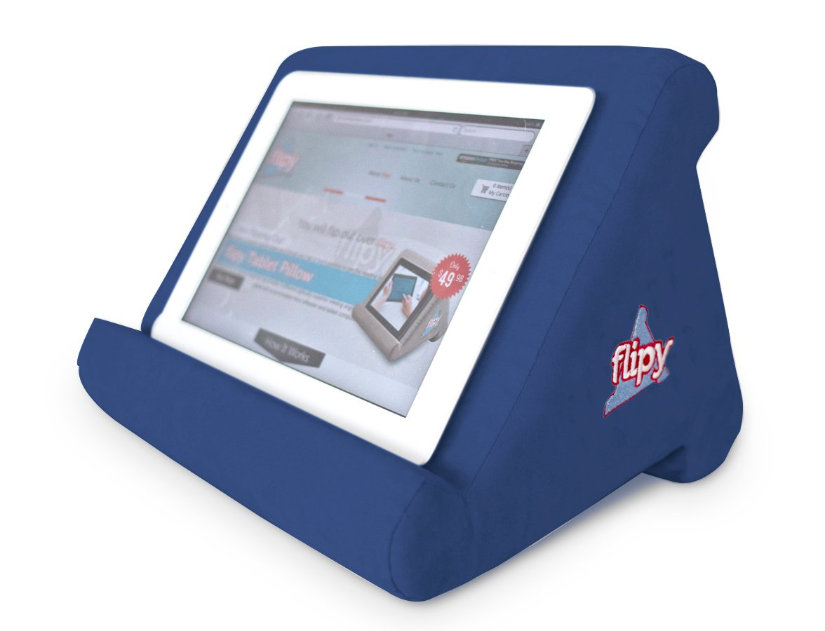 Flipy Multi-Angle Soft Pillow Lap Stand for iPads, Tablets, eReaders, Smartphones, Books, Magazines (Dark Blue)