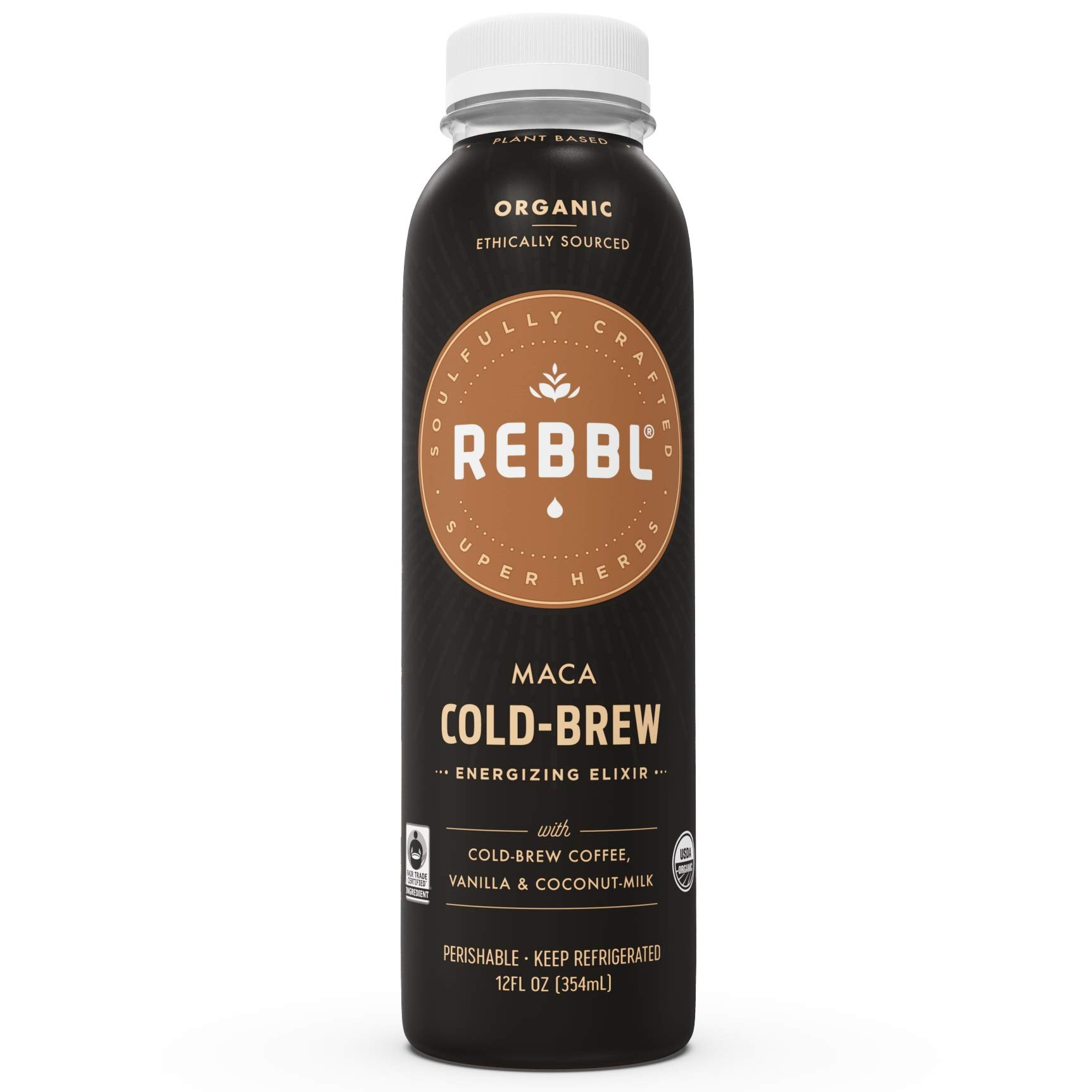 REBBL Super Herb Powered Elixirs | Maca Cold Brew Coffee Elixir 12 Pack | 12 Fl Oz | Gluten Free, Organic, Non GMO, Vegan | 750mg 4: 1 Maca Extract, 140mg Caffeine