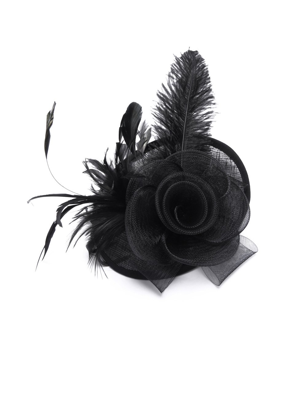 Feather Fascinators Hats for Women Girls Cocktail Flower Kentucky Derby Headband Hair Clip Tea Party Mesh Hat (Black)