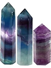CrystalTears Set of 3 Natural Fluorite Self Standing Healing Crystal Point Wand Faceted Prism Wand Carved Reiki Stone Figurine with Box Gift