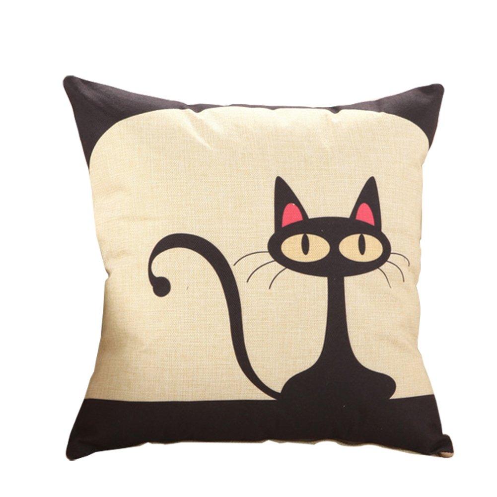 Kanggest Funda de almohada Patrón de gato de dibujos animados de ...