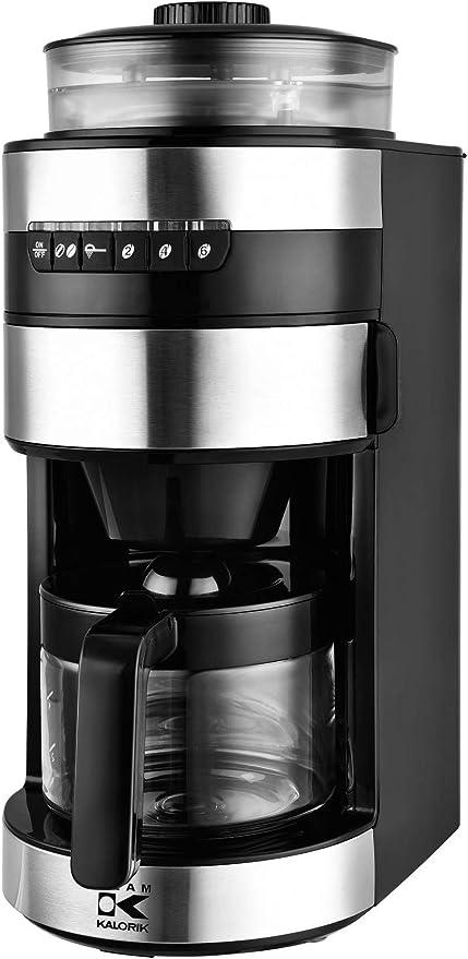Team Kalorik Cafetera con molinillo de café, Capacidad 0.75L, Jarra de Vidrio, Plástico/Acero inoxidable/cerámica, 750 W, Negro/Plateado, TKG CCG 1006: Amazon.es: Hogar