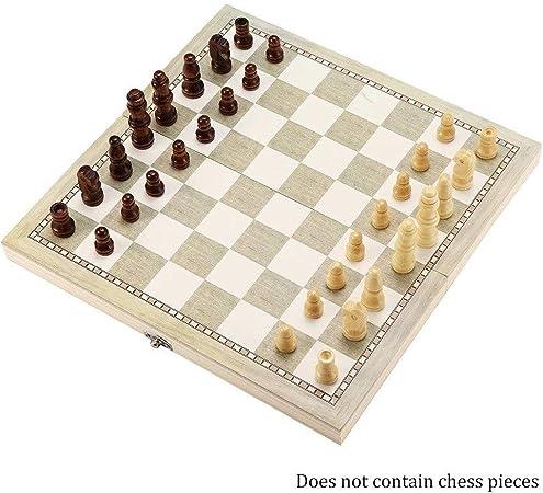 Juego de Tablero de ajedrez de Madera Plegable 3 en 1 Juego Divertido Colección Chessmen Tablero portátil Juegos de Viaje Ajedrez Backgammon Damas Juguete (tamaño : 44cm): Amazon.es: Hogar