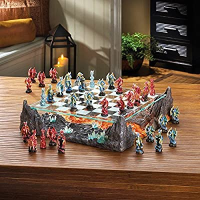 Home Locomotion 10015191 Fire River Dragon Chess Set by Home Locomotion