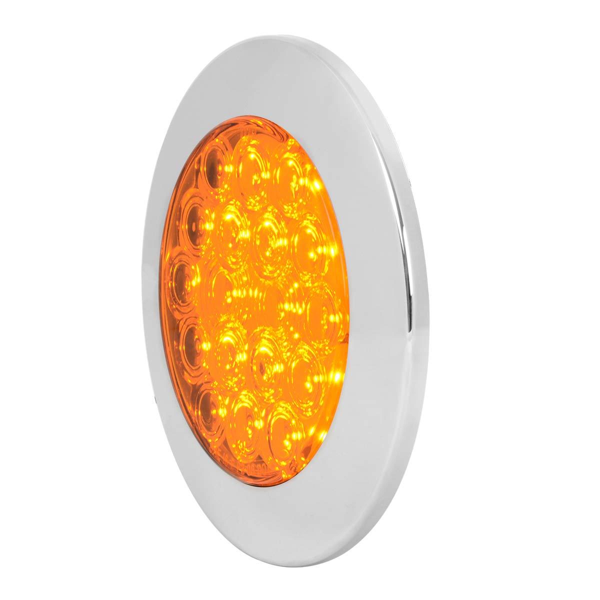 GG Grand General 75870 LED Light 4 Fleet Amber 18 Flange Mount with Bezel, 3 Prong
