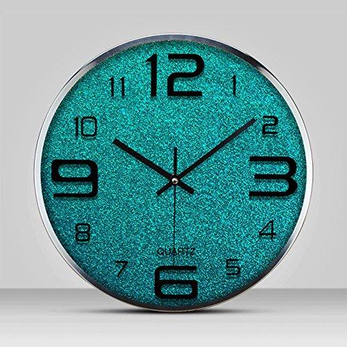 ファッション創造的なシンプルなリビングルームのベッドルームのオフィスミュート時計腕時計のクォーツ時計の壁時計のクロック (色 : 青) B07DSCC8SV青