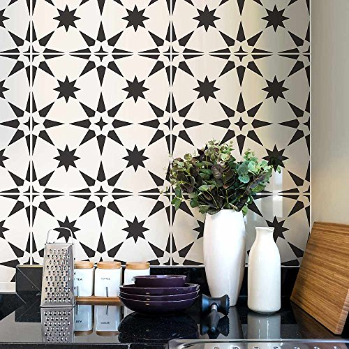 Jewel Tile Stencil - Cement Tile Stencils - DIY Geometric Tiles - Reusable Stencils for Home Decor (Medium)