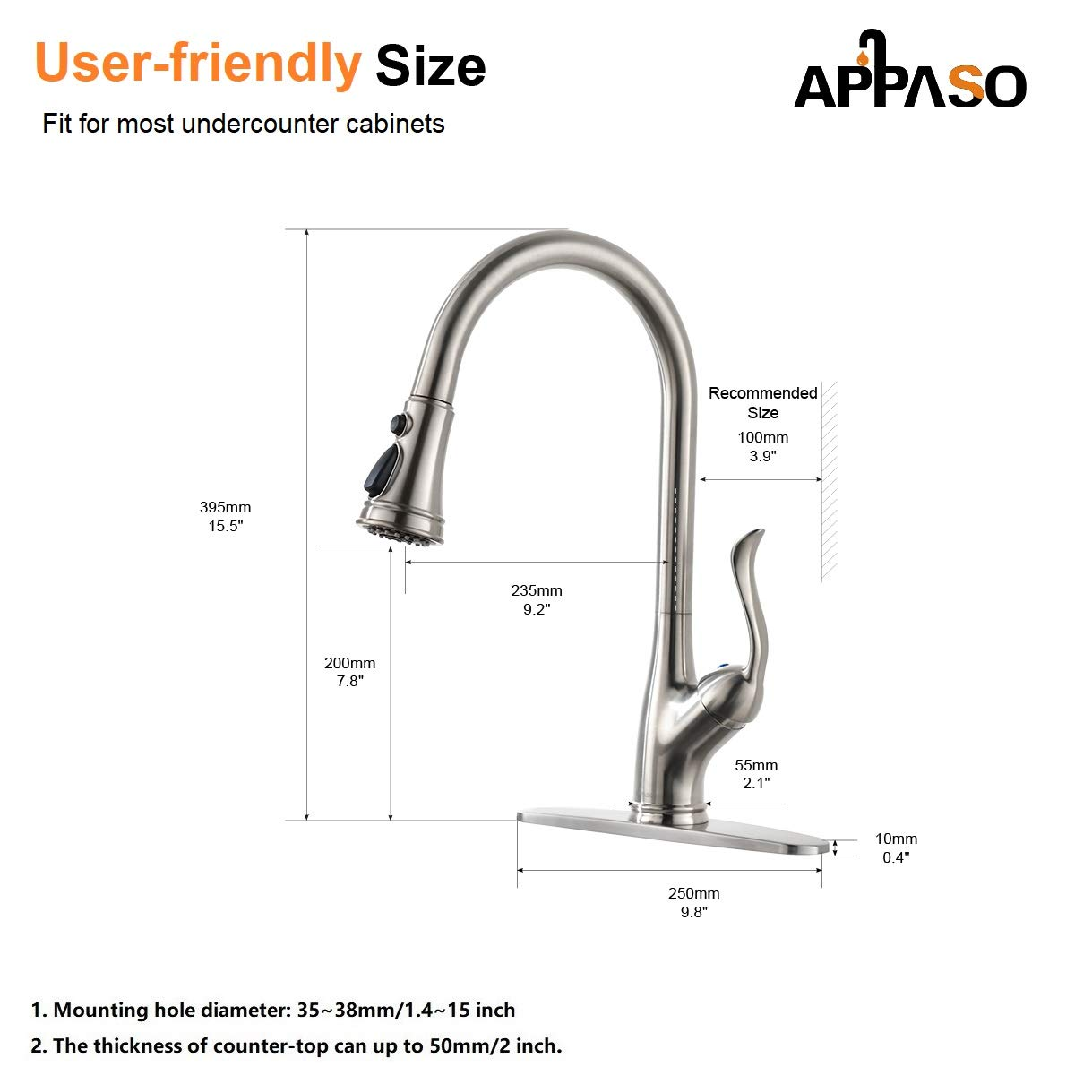APPASO Single Handle Pull Down Kitchen Faucet with Sprayer, Stainless Steel Brushed Nickel High Arc Single Hole Pull Out Spray Head Kitchen Sink Faucet with Escutcheon by APPASO (Image #7)