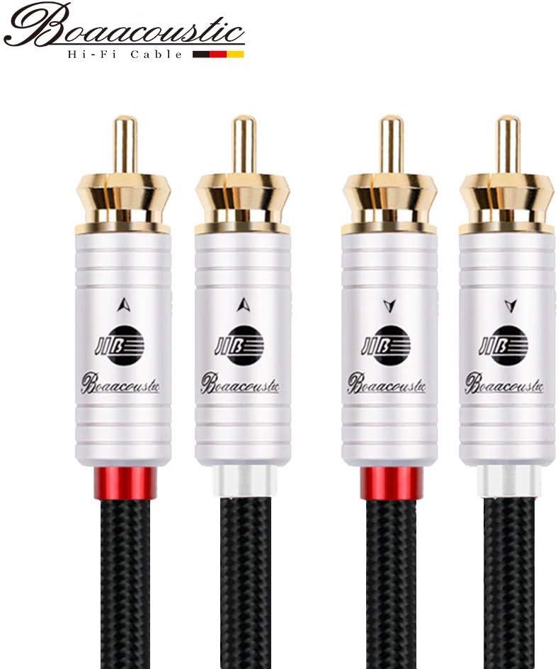 1.5M,Nero JIB Boaacoustic Cavo RCA Stereo 4N OFC HiFi Cavo audio RCA da 2 maschi a 2 maschi