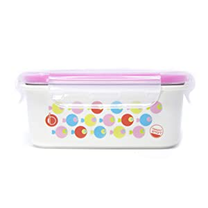 Innobaby Keepin' Fresh Stainless Bento Snack or Lunch Box with Lid for Kids and Toddlers 15 oz, BPA Free Food Storage, Pink Fish