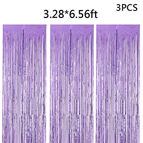 (3packs 3.28x6.56ft Pearl Purple Metallic Foil Fringe Shiny Curtains for Party Birthday,Event Decorations Door Window Tinsel (pearl purple, 3pack))
