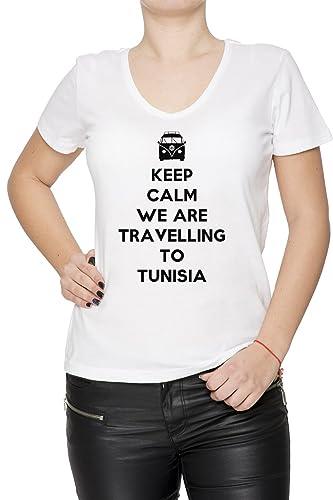 Keep Calm We Are Travelling To Tunisia Donna T-Shirt V-Collo Bianco Cotone Maniche Corte Women's T-S...