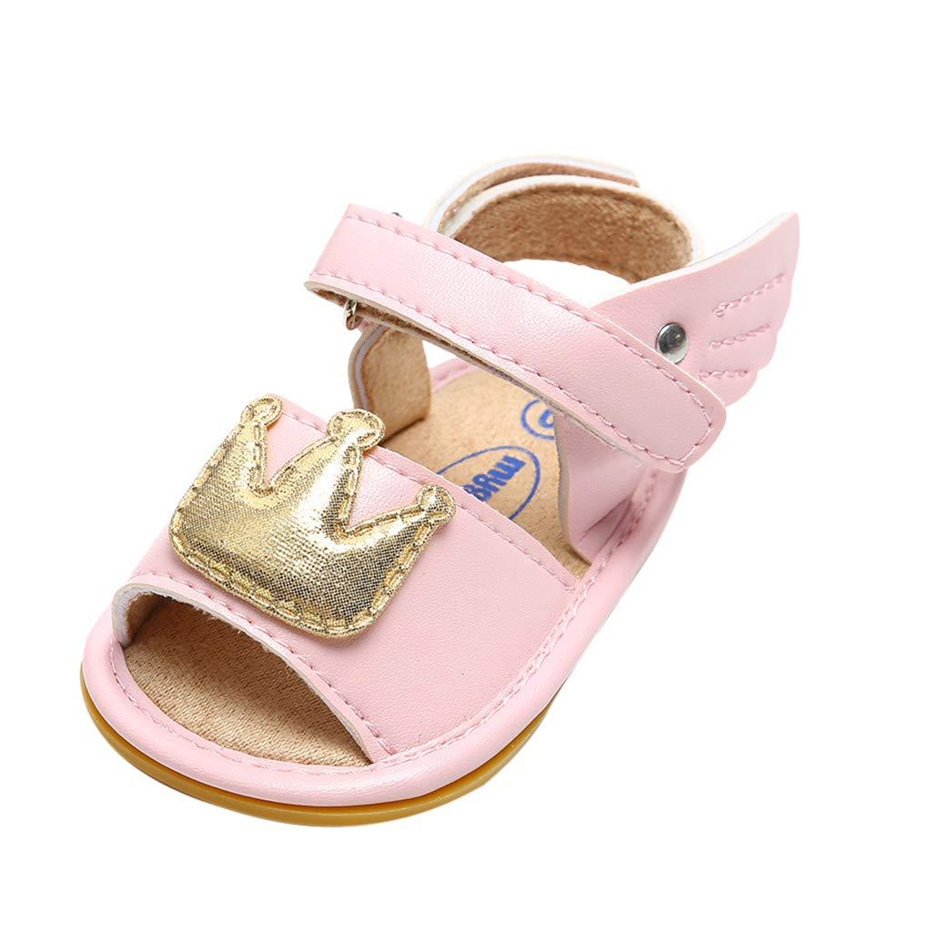 DZT1968  Beautiful Baby Girls Cuty Crown Wing Hood/&Loop Anti-Slip First Walkers Summer Sandals