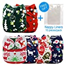 LBB(TM) Baby Resuable Washable Cloth Pocket Diaper,New Print Design for Christmas ,6 Pieces Pack