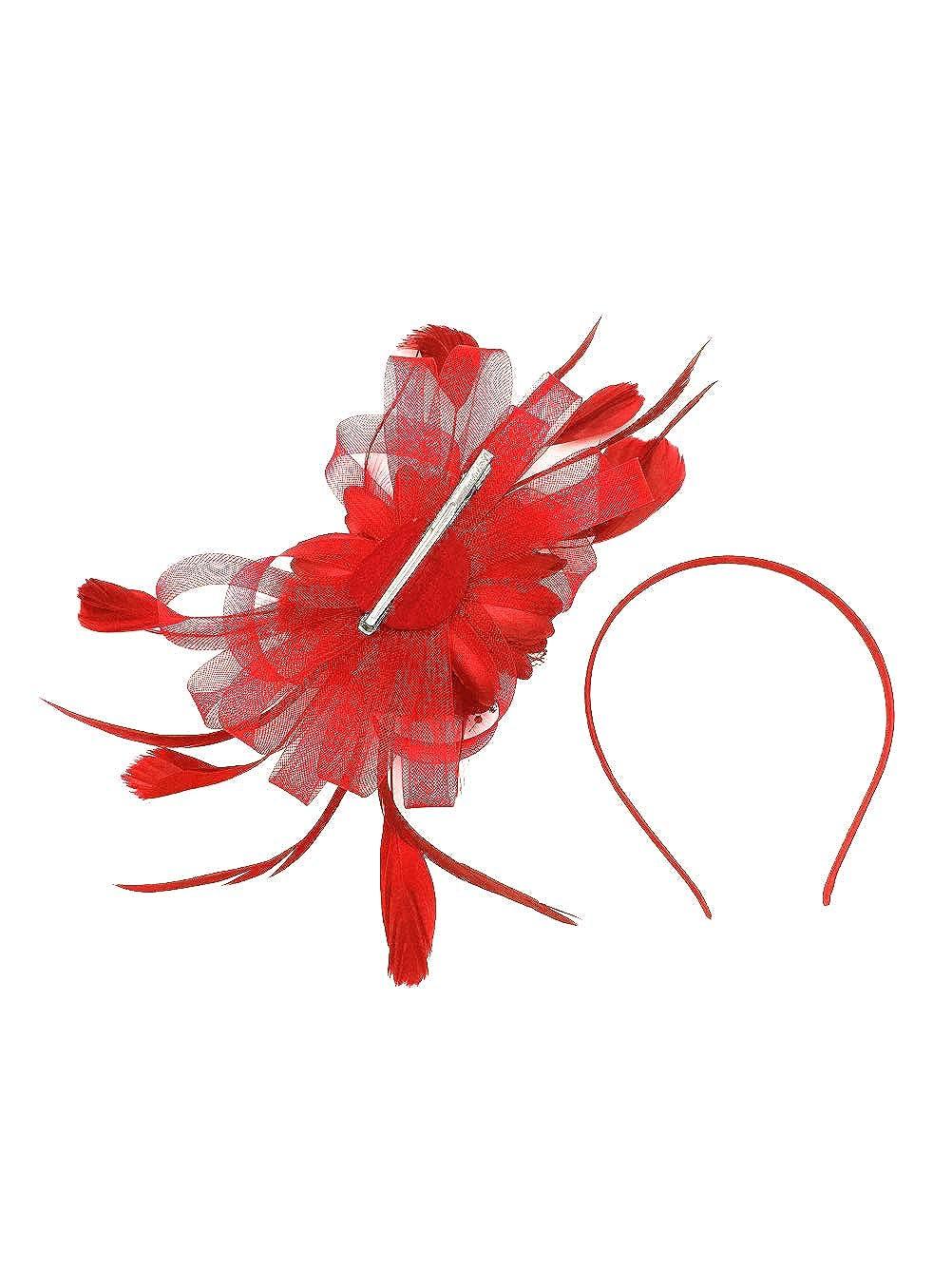 Feather Ribbon Kentucky Derby Fascinators,Flowers 20S Hats For Women Tea Party