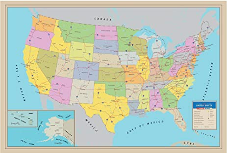 Amazoncom Premium Paper Extra Thick Great United States Wall - Us map 50 states