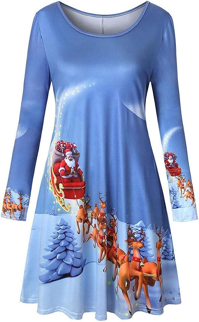 LuckyGirls Vestido de Fiesta de Cuello Redondo con Estampado ...