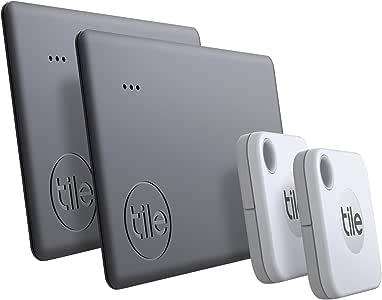 Tile Mate + Slim Combo (2020) Bluetooth key finder, 4-pack (2x Mate 2x Slim), incl. zoekopdracht met behulp van de community, iOs en Android app, werkt met Alexa en Google home; 2x wit, 2x zwart