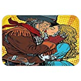 VROSELV Custom Door MatWestern Decor Steampunk RobotWestern Style Cowboy Kissethe Girl Illustration Yellow and Brown