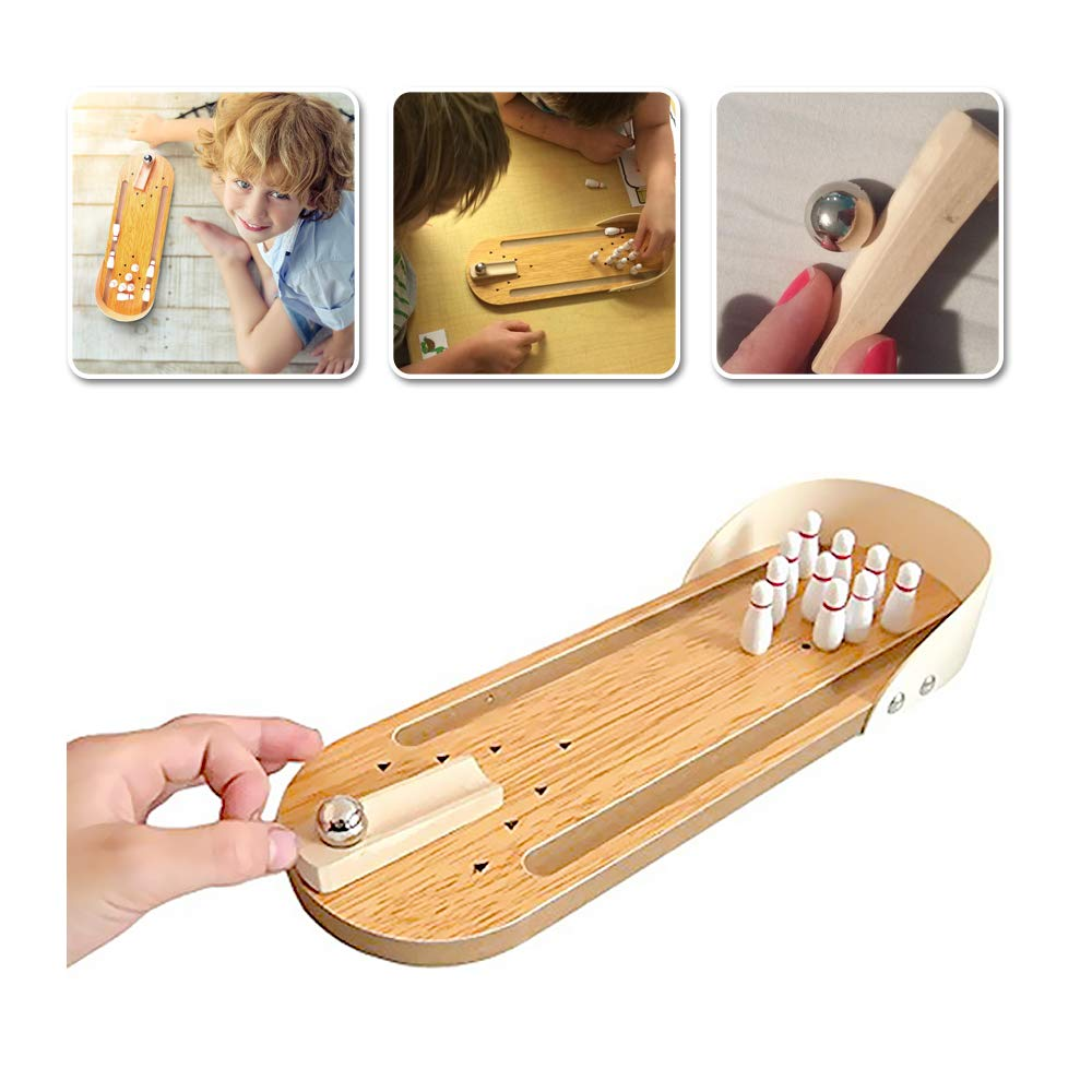 Indoor Wooden Mini Bowling Game - Best Family Party Play Board Desk Top Toys For Kids Adults Bowling Fans,Wood Finger Bowling Machine Office Stress Relief Play Set,Home Decor Board Games Tobbles Toy