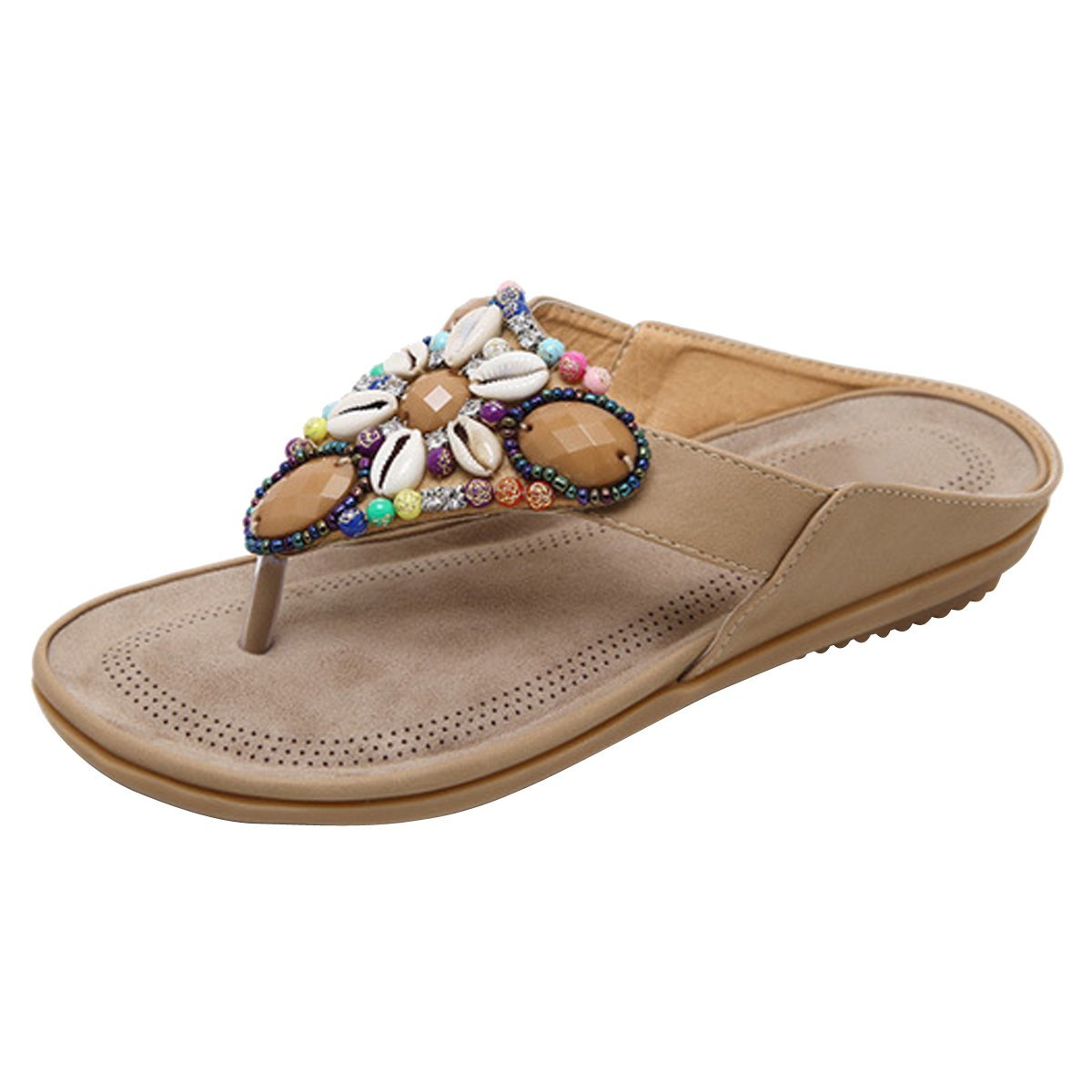 LUXINYU Women Summer Thong Sandal - Bohemia Beaded Flat Slide-on Slipper Flip Flop Shoes - 2 Assorted Color,Brown US 8.5