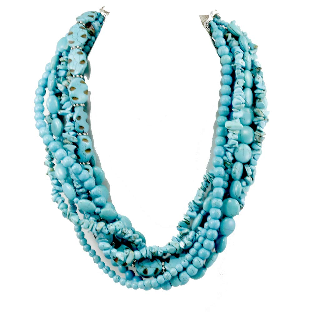 Multi-Strands Blue Magnesite Turquoise Bib Heavy Necklace 20.5'' N18081201L