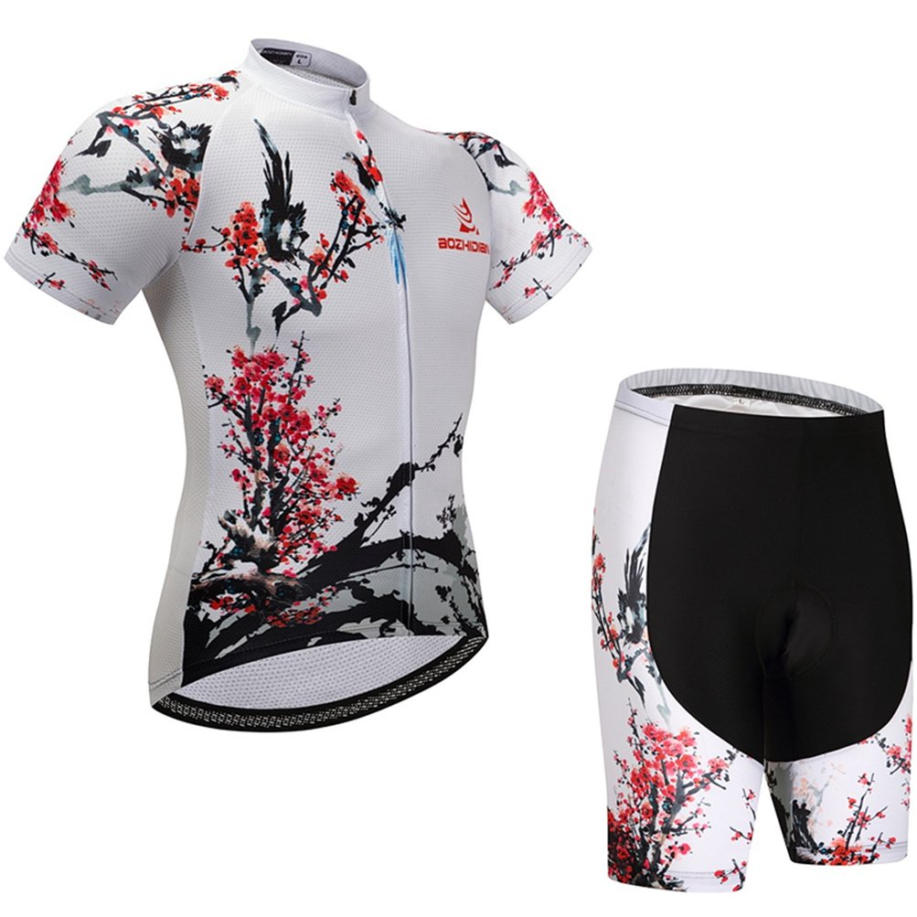 Uriah Women's Cycling Jersey Shorts Sets Short Sleeve Plum Blossom Size M(CN) by Uriah