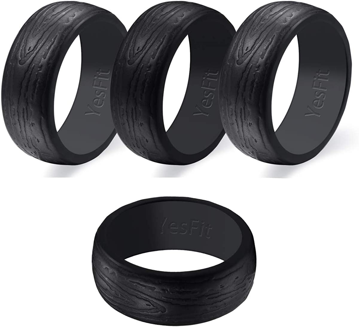 1 Pack// 4 Pack Mens Classic Breathable Rubber Wedding Ring for Men YesFit Silicone Wedding Ring for Men Pure Black//Grey Color Thin Silicone Sports Bands with Gift Metal Box