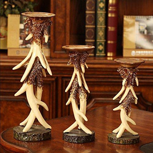 Elegant Vintage Resin Antlers Candlestick Carving Fine Crafts Pattern Wedding Decor Candle Holder Art Sculpture Three-piece Set by DEAI (Image #4)'