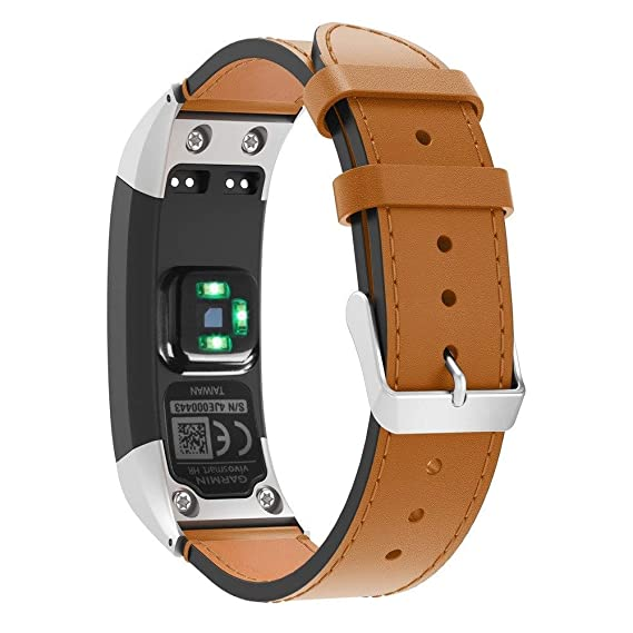 Jewh Watch Band for Garmin VIVOsmart - HR Luxury Leather Replacement - Wrist Watch Band Strap