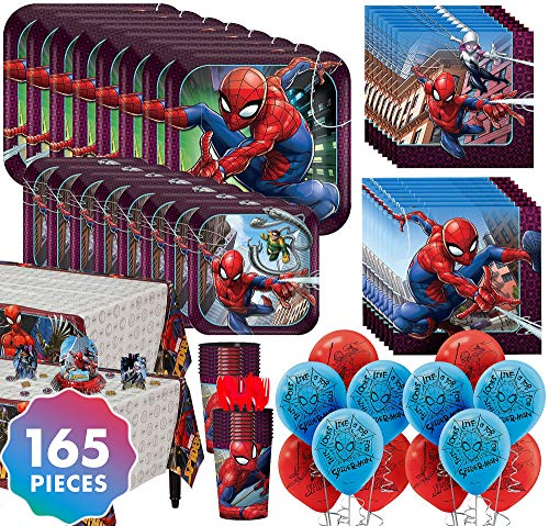 Party City Spider-Man Ultimate Tableware Kit for 16 Guests, 165 Pieces, Includes Plates, Napkins, Balloons, and Décor
