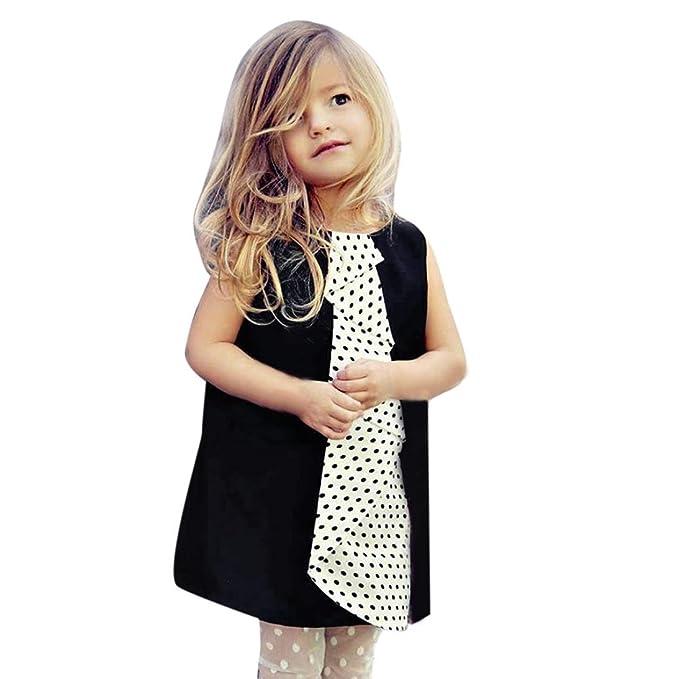 c65fdfb85841 Bekleidung Longra Baby Kinder Mädchen Sommer ärmelloses Kleid Kind Dot  Druck unregelmäßig Kleider Babykleidung(0