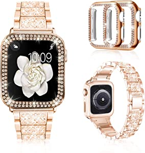 Mosonio Compatible with Apple Watch Band 38mm 40mm 42mm 44mm with Case Women, Jewelry Replacement Metal Wristband Strap with 2 Pack Bling PC Protective Cover for iWatch Series 6/5/4/3/2/1(Rose Gold)