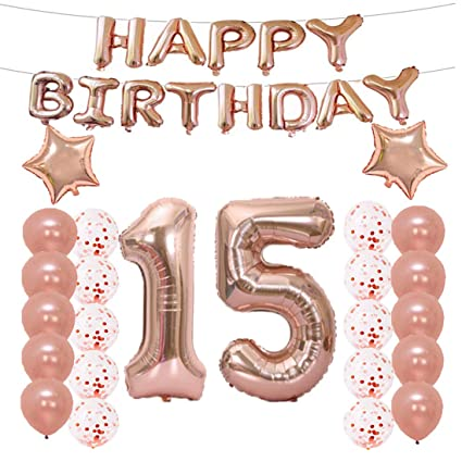 15th Birthday Decorations Party Supplies15th Balloons Rose GoldNumber 15 Mylar Balloon