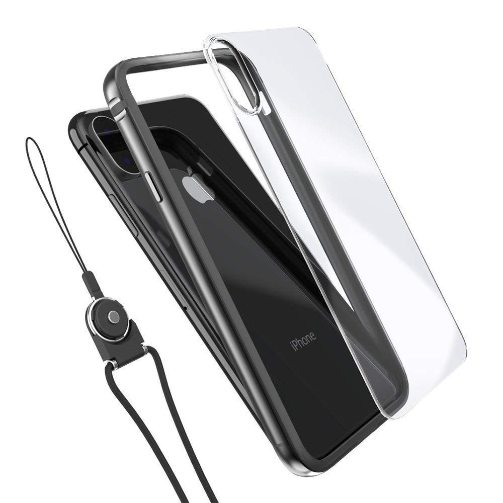 Funda iPhone X, iPhone 10 Bumper Cover Anti-rasguño Transparente PC Back con interior TPU ajuste perfecto para Apple iPhone X/10(Negro)